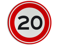 Verkeersbord RVV A01-20 - Maximum snelheid 20 km/h