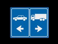 Routebord tankstation - vracht- en autoverkeer