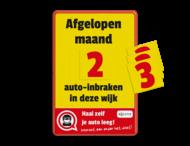 Informatiebord - auto-inbraak - aantal dagen - magnetisch - haal zelf je auto leeg! + cijferset 0 t/m 9