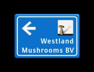 Verwijsbord blauw/wit - eigen ontwerp + beeldmerk fullcolour