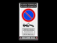 Parkeerbord E01 + tekst pictogram en logo