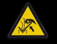 Pictogram W031 - Gevaar voor beklemming tussen materiaal en persbank