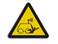 Pictogram W037 - Gevaar voor op afstand gestuurde voertuigen