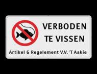 Verkeersbord RVV C01 vissen verboden - 3txt-ondertekst