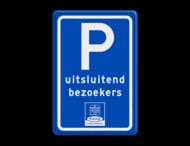 Parkeerbord type E08 met tekst en logo (1 kleur)