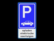 Parkeerbord E08 + tekst 'opladen elektrische voertuigen'