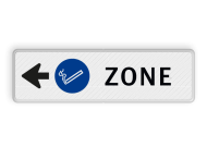 Routebord pijl links - ROOKZONE + eigen tekst