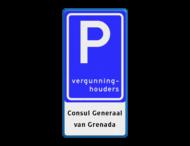 Verkeersbord RVV E09 - 3txt - Parkeerplaats vergunninghouders