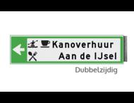 Bewegwijzeringsbord - DUBBELZIJDIG - 800x150x15mm RAL6024 2 regelig en pijl