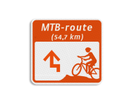 Mountainbikeroutebord 119x109mm met pijl en tekst - klasse 3