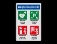 Veiligheidsbord | 4 symbolen + tekst + banner