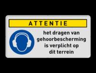 Gebodsbord M003 - Dragen gehoorbescherming verplicht (PBM) + eigen tekst