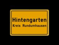 Verkehrsschild Ort- und Kreisnahme - gelb/schwarz