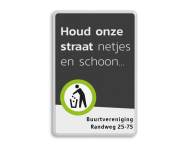 Mottobord aluminium - Houd de buurt schoon + tekstvlak
