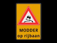 Verkeersbord RVV J20 - Vooraanduiding slipgevaar + ondertekst