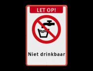 Veiligheidspictogram - Geen drinkwater - P005 + Eigen tekst