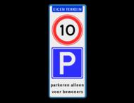 Verkeersbord ARD met snelheidsbeperking en parkeerbord