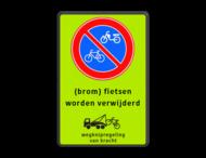 Parkeerverbord RVV E01 FLUOR + tekst + wsl