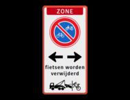 Parkeerbord Zone + RVV E03 + wegsleepregeling fietsen + tekst