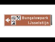 Bewegwijzeringsbord - ENKELZIJDIG LINKS - 800x200x15mm bruin/wit 2 regelig en pijl