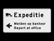 Routebord expeditie 2 regelig + pijl links - eigen tekst