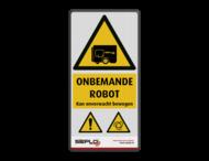 Veiligheidspictogram - Waarschuwing onverwacht bewegende Robot + logo / in huisstijl