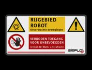 Veiligheidspictogram - Waarschuwing bewegende mechanische delen / Robot + logo / in huisstijl
