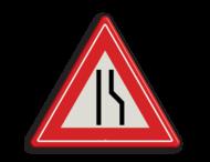 Verkeersbord RVV J18 - Vooraanduiding rijbaanversmalling naar links