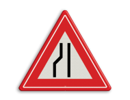 Verkeersbord RVV J19 - Vooraanduiding rijbaanversmalling naar rechts