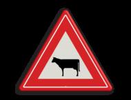 Verkeersbord RVV J28 - Vooraanduiding oversteken vee