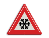 Verkeersbord RVV J36 - Vooraanduiding ijzel of sneeuw