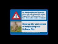 Informatiebord VERBODEN dieren uit te zetten - full-colour opdruk