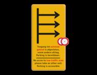 Routebord met pijlen en 'opzet'bordjes gesloten