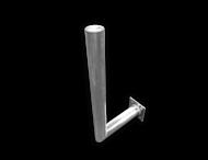 Haakse muurbeugel Ø76 aluminium met schetsplaat