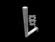 Haakse muurbeugel Ø76 aluminium met schetsplaat + beugelset DUBBELZIJDIG