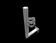 Haakse muurbeugel Ø76 aluminium met schetsplaat + beugelset ENKELZIJDIG