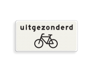 Verkeersbord RVV OB52 - Onderbord - Uitgezonderd fietsers