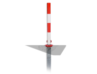 Inzinkbare antiparkeerpaal rood/wit (half-automatisch)