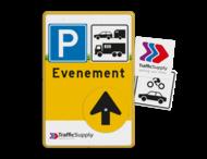 Routebord bedrijfsnaam/logo - geel/zwart/blauw + tekst en draaibare pijl