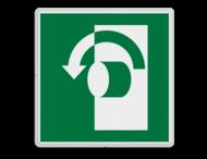 Veiligheidspictogram - Draai tegen de klok in om te openen - E018