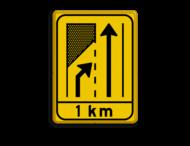 Verkeersbord WIU geel/zwart T32-2x + ondertekst