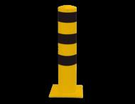 Afzet-, rampaal (SH3) Ø152x1.000 mm hoog geel/zwart met voetplaat
