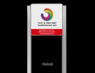 Portaalsysteem TS met informatiebord 1:1 met aluminium geborstelde staanders