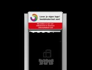 Portaalsysteem TS6 inclusief informatiebord rechthoek 2:1 + 2 Geborsteld aluminium staanders 60x60mm