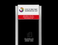 Portaalsysteem TS inclusief informatiebord rechthoek 3:2 + 2 Geborsteld aluminium staanders 60x60mm