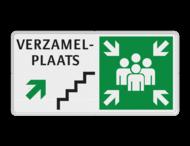 Verzamelplaats-, routebord + trap en pijl