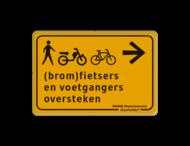 Verkeersbord WIU geel/zwart voetgangers en (brom)fietsers oversteken