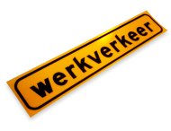 Sticker  500x100mm geel FLUOR 'WERKVERKEER'