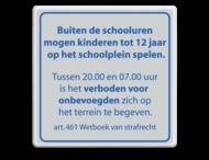 Informatiebord schoolplein wit/blauw - spelregels