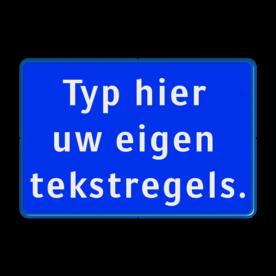 Tekstbord blauw/wit 3 regelig